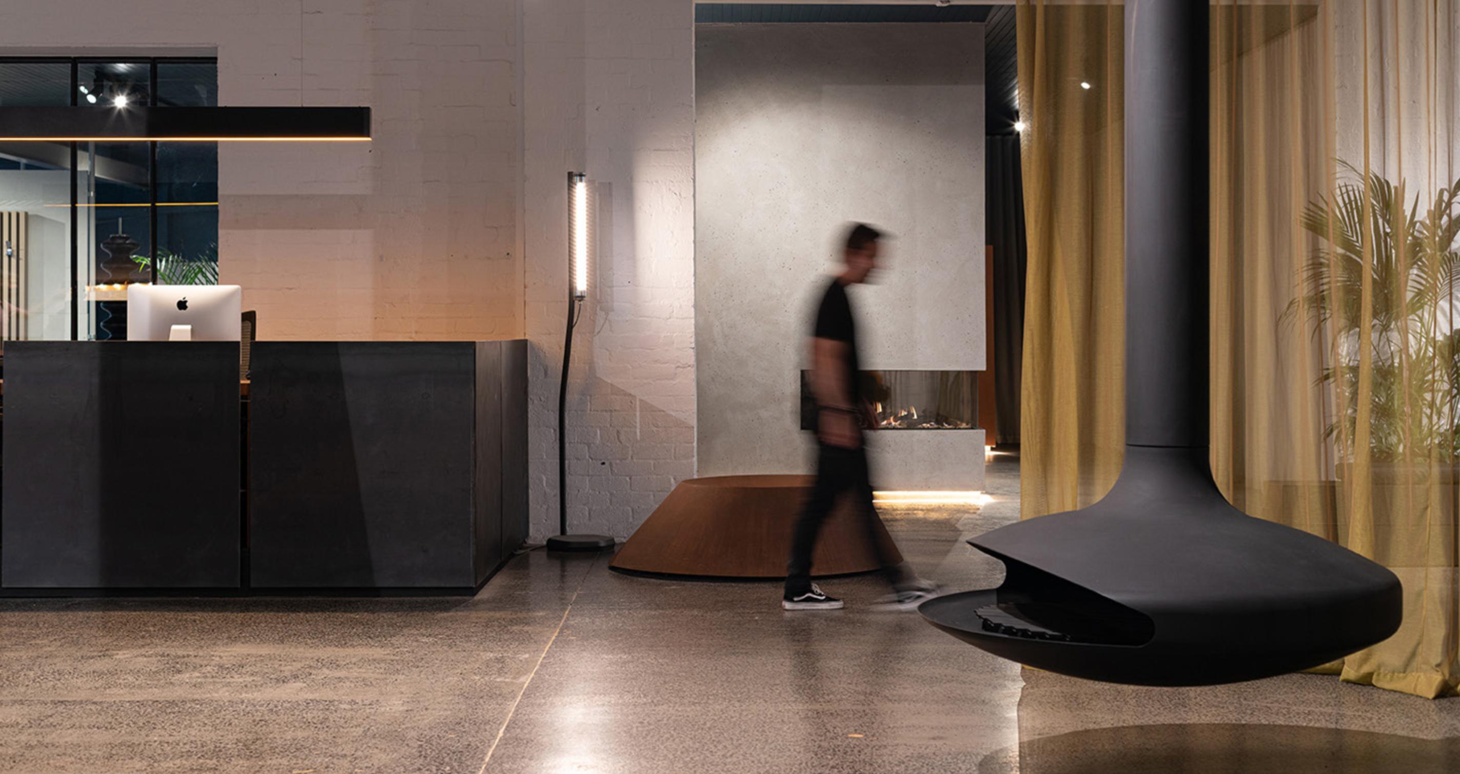 showroom Oblica cheminées contemporaines à Melbourne