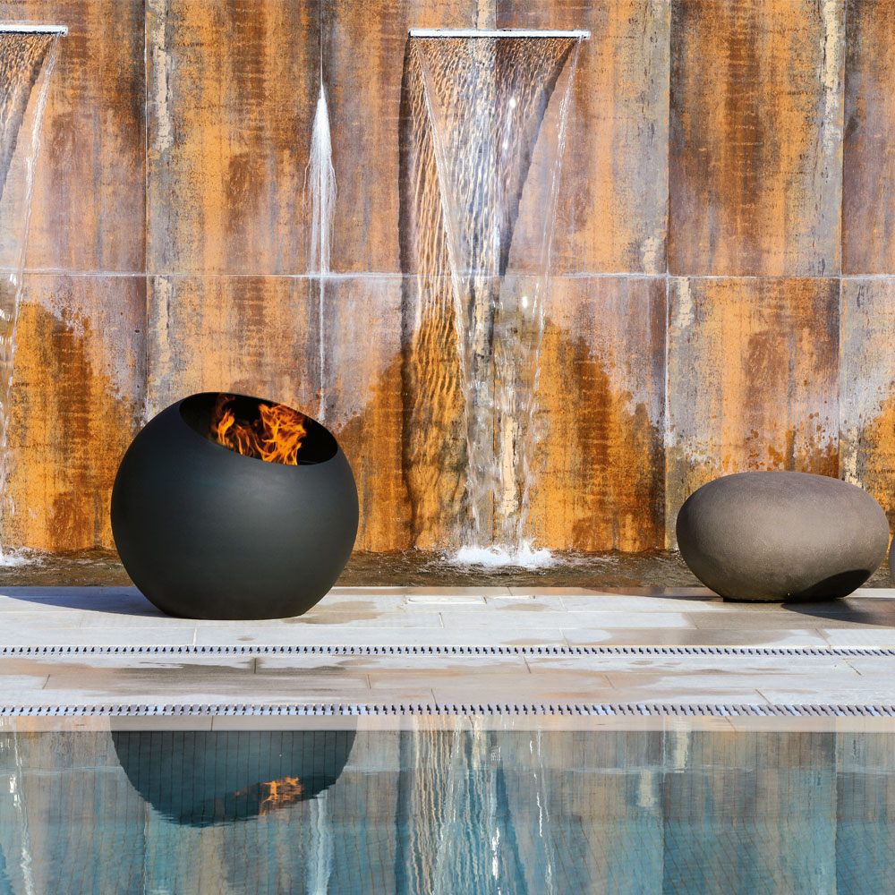 bubble is a wood burning fire pit by focus creation, outdoor, pool and backyard
