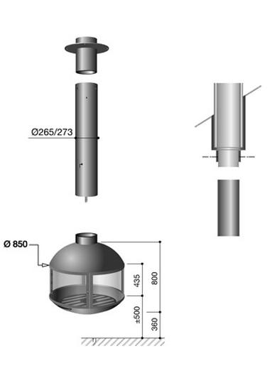Schema de la cheminée AgoraFocus 850