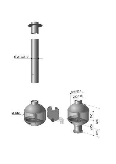 schéma de la cheminée Edofocus 631 DV