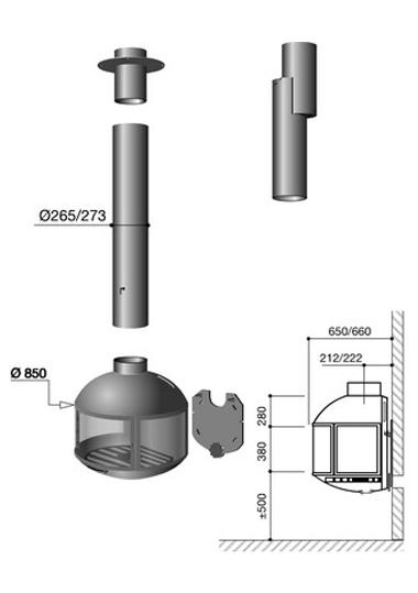 Schéma de la cheminée design Edofocus 850