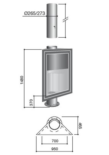 Schéma de la cheminée Design Eurofocus 951