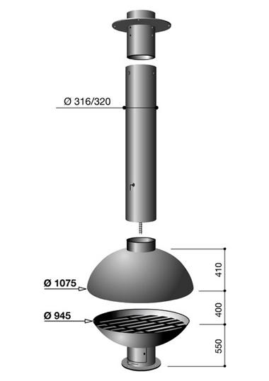 Schéma de la cheminée Design centrale Mezzofocus