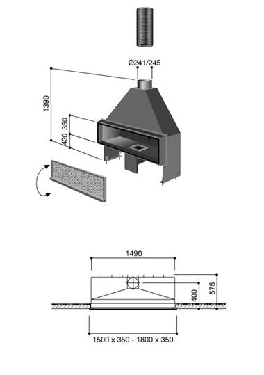 Schéma de la cheminée Design Néofocus fonctionnement au Bois