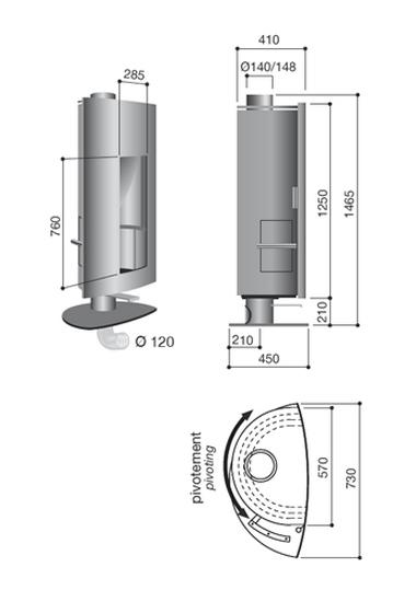 Schéma de la cheminée Poele Design Stofocus rouille