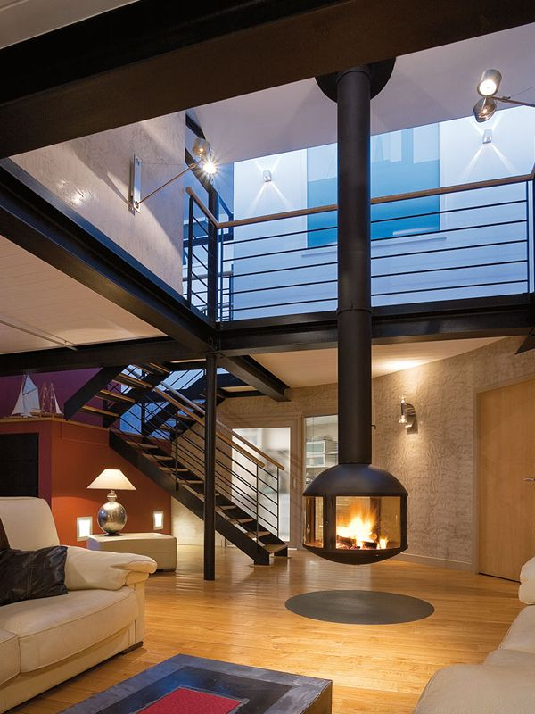 Suspended Wood Fireplace. Good Indoor Wood Burning Suspended Wood ...