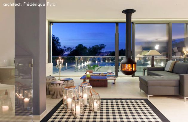 Suspended contemporary fireplace Agorafocus 630