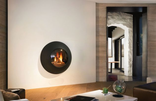 wall mounted designer fireplace Lensfocus gas