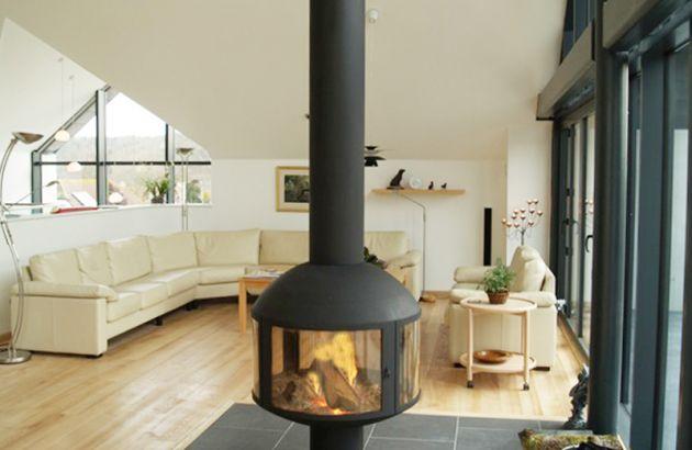 central designer suspending fireplace  AGORAFOCUS 850