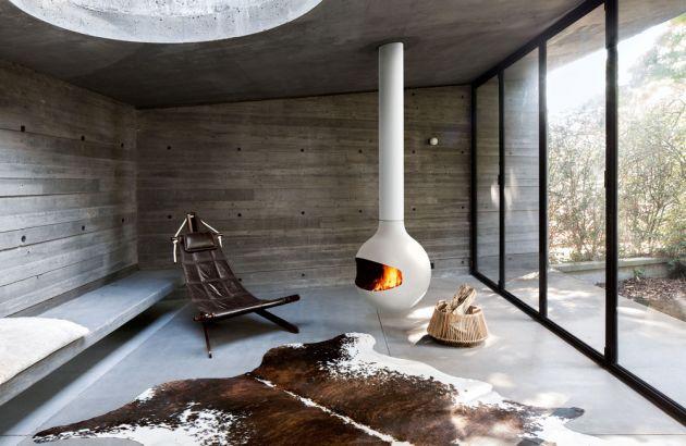 central designer fireplace Batyscafocus white