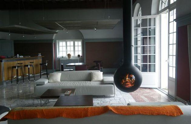 central designer fireplace Bathyscafocus Hublot