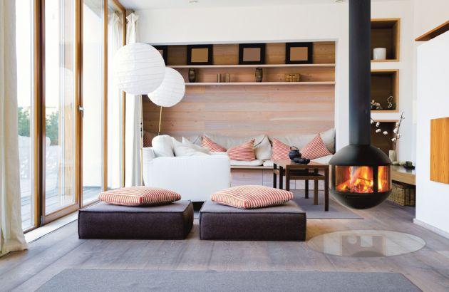 Suspended contemporary fireplace Agorafocus 630