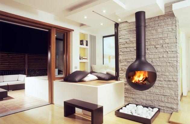 central contemporary fireplace Batyscafocus