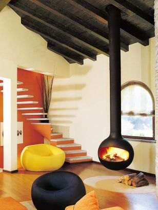 central contemporary fireplace Batyscafocus