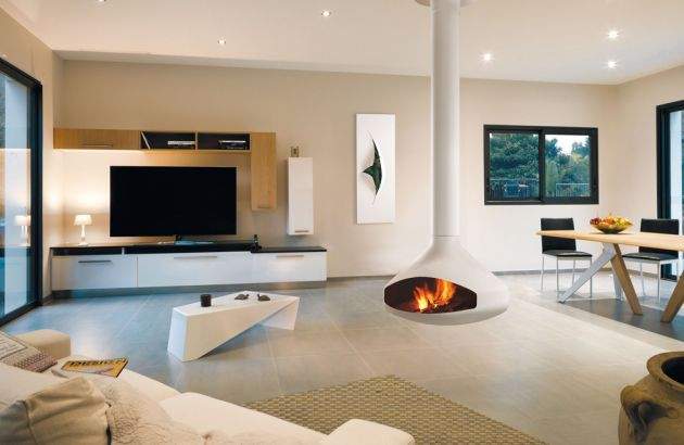 contemporary central designer fireplace Ergofocus white