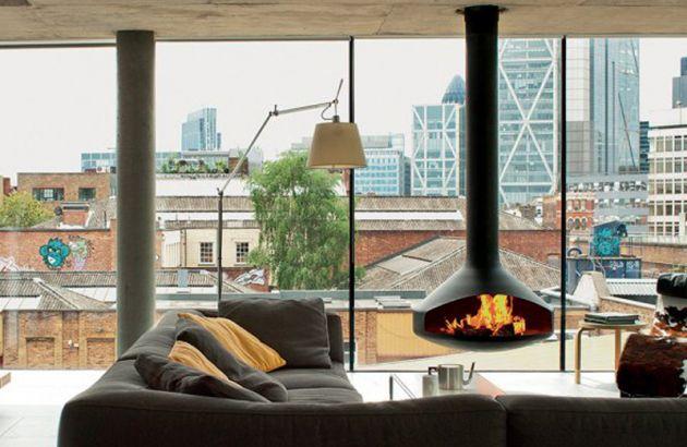 contemporary central designer fireplace Ergofocus London