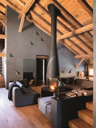 Central design fireplace Filiofocus villa solaire
