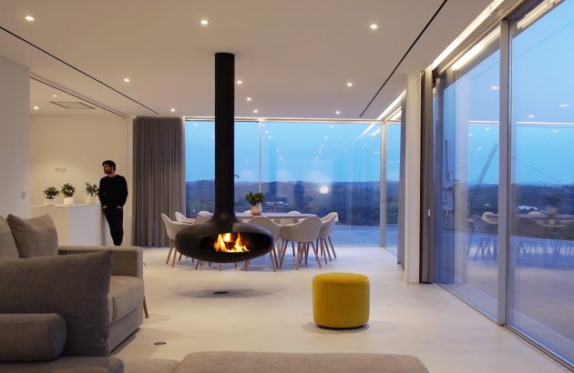 suspended design fireplace Domofocus