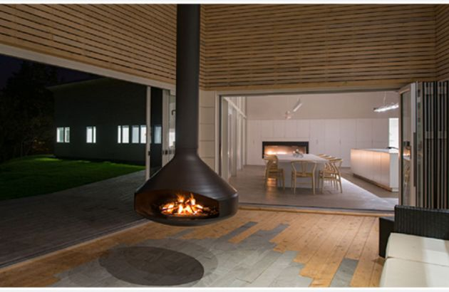 outdoor fireplace with a suspended hearth Ergofocus