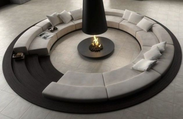 central designer telescopic fireplace filiofocus