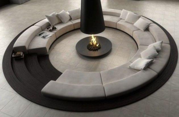 central designer telescopic fireplace filiofocus
