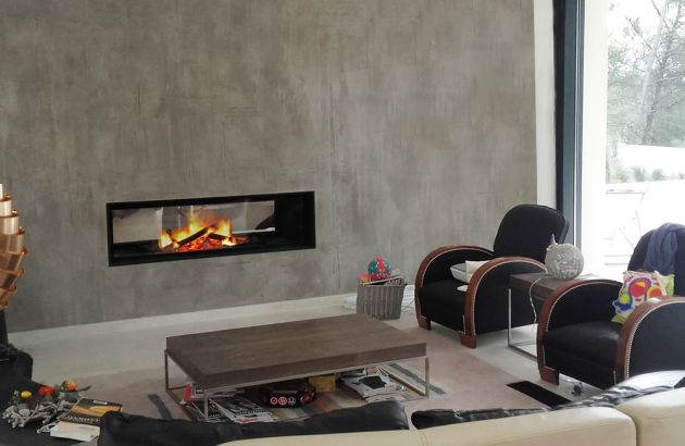 Design wallmounted fireplace Gigafocus