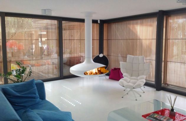 central designer fireplace Gyrofocus white