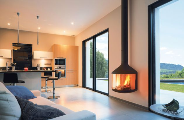 wall mounted designer fireplace Hubfocus