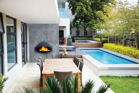 outdoor fireplace attached to the wall Miofocus
