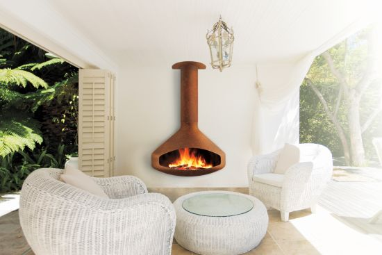 outdoor fireplace attached to the wall Paxfocus