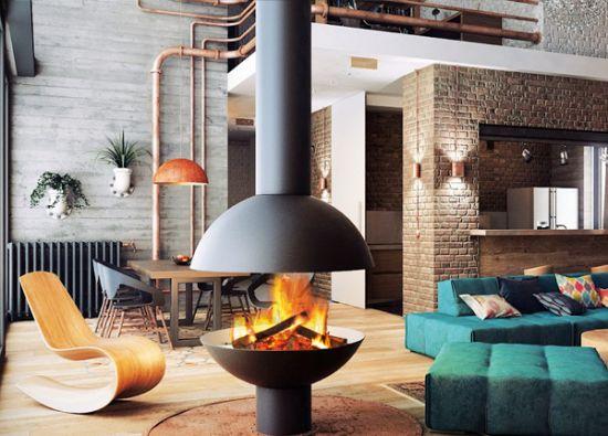 central designer fireplace focus. Black Bedroom Furniture Sets. Home Design Ideas