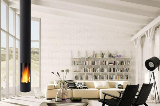 Central designer fireplace focus - Cheminee centrale suspendu ...